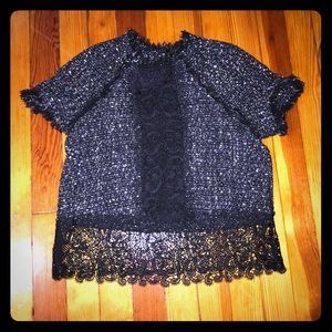 Zara Twill Sweater with Lace Detail